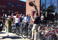 Portland's Sustainable Transportation Fund will support bicycle, pedestrian and other projects like the city's first bike corral (much-needed bicycle parking in what was previously a car parking spot) in front of Rosemont Market and Arabica Coffee on Commercial Street.                                                    Photo above courtesy of Kristine Keeney; photo below courtesy of Rosemont Market & Bakery