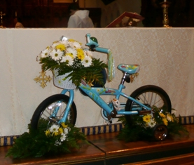 Blessing of the Bicycles Photos - bike at St. Luke's altar