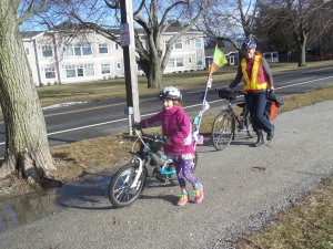 Taking a quick break on our Christmas Day bike ride to visit friends this past winter.